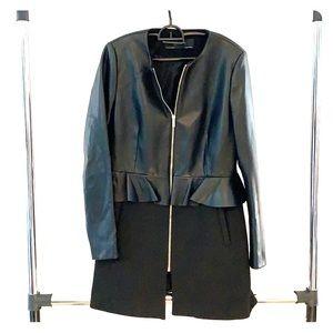 ZARA Basic Collection long pleather zip-up blazer